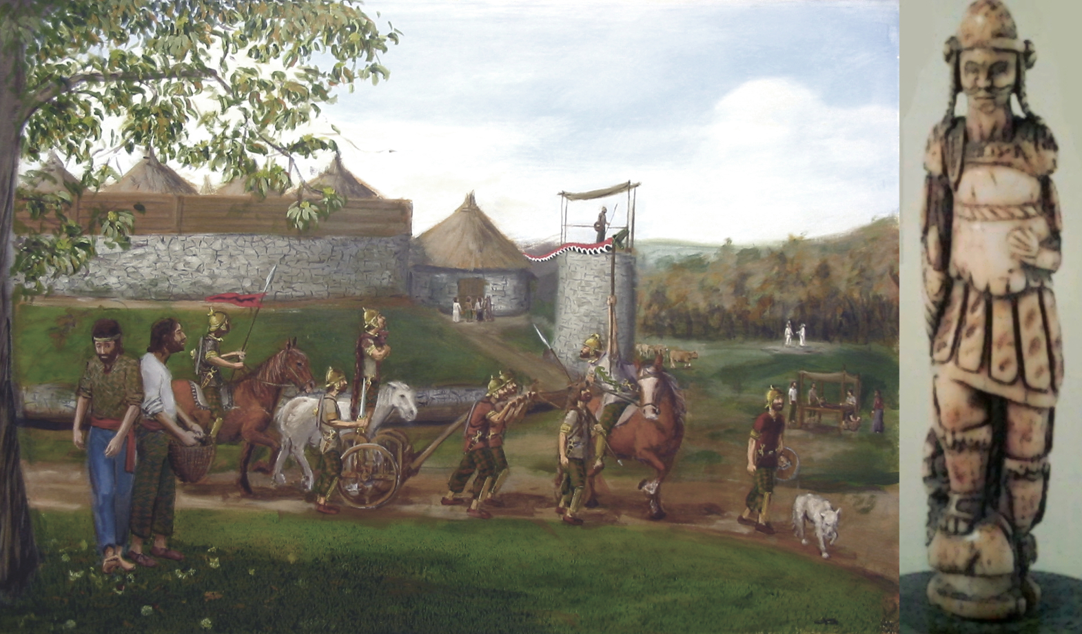 Corio do Castro de Vilasuso e peza do xogo celta de Fichel representando a Bandua de Bande