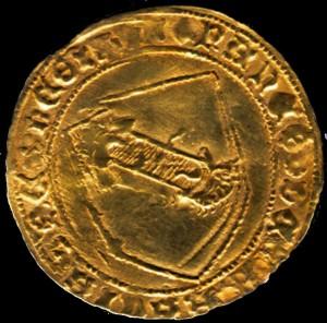 Dobra de ouro 'da Banda' do rei de Galicia, León e Castela Juan II