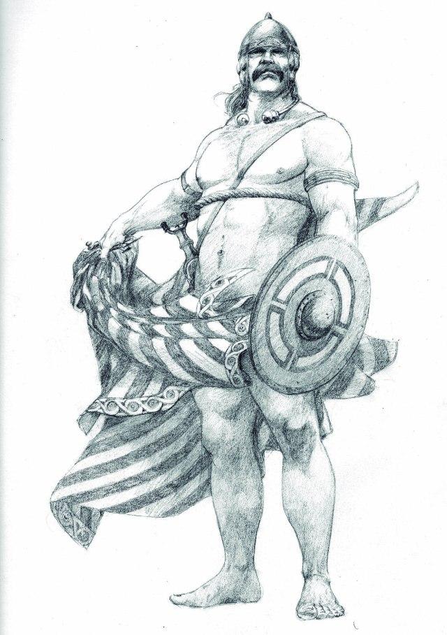 Infanteria celtogalaica de élite. Por Carlos Alfonso, asesorado por A. Pena. Desenho para a Película Galaicos