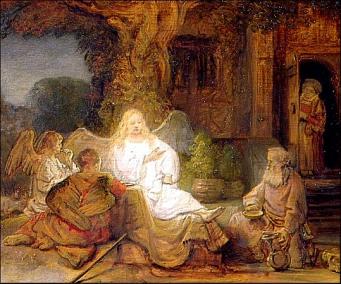 Abraham e os tres anxos. Rembrandt