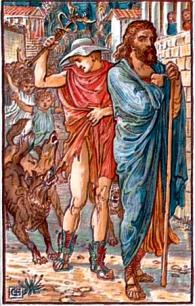 Hermes e Zeus viaxeiros
