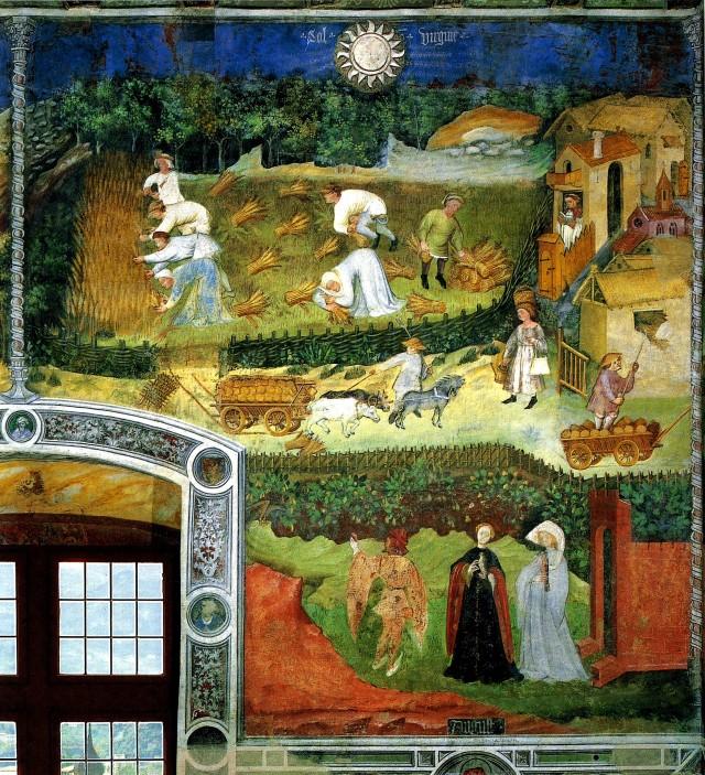Agosto. Ciclo dei mesi. Mestre Wenceslao, c. 1400. Castello del Buonconsiglio, Trento.