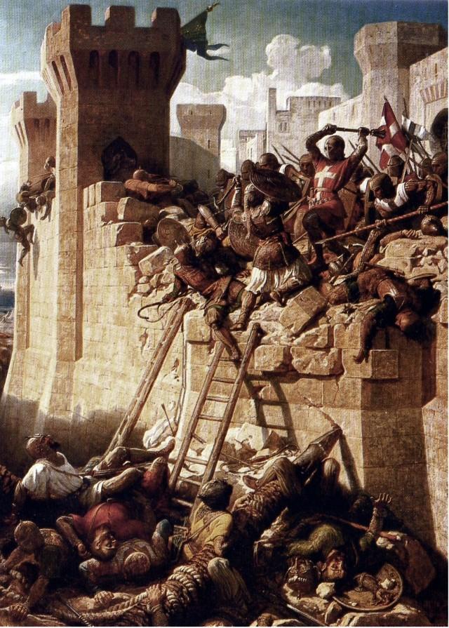 """Asedio de Acre por D.Papety, circa 1840. O Mestre Hospitalario Mathieu de Clermont defendendo os muros em 1291. Fonte Wikipedia. ex Chateau de Versailles, reproducido in """"Brieve histoire des Ordres Religieux"""", Editions Fragile."""