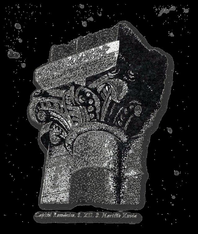 Capitel do Mosteiro de San Martiño de Xuvia. Deseño de José Ramón Fernández Villares ilustrando este texto na p 88 de Narón Un Concello con Historia de Seu. Tomo II II