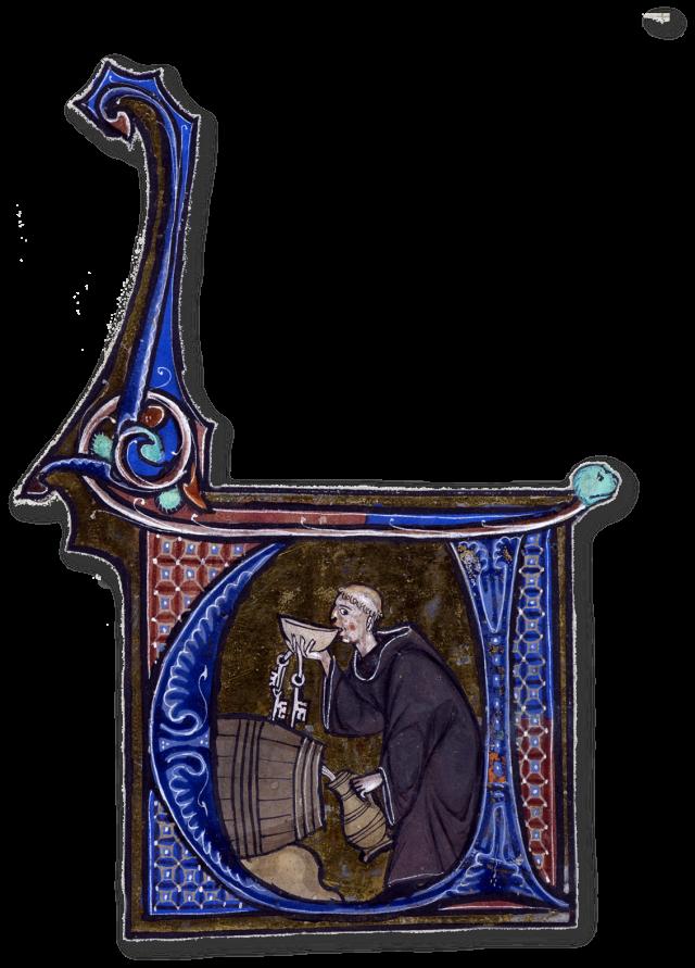 Probando o viño no celeiro da badía. Miniatura dunha copy do Li livres dou santé by Aldobrandino of Siena.