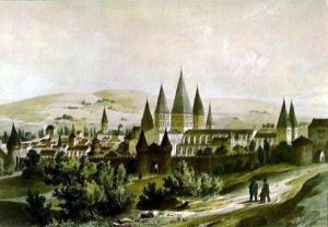 Pintura da Badía de Cluni of Cluny Abbey antes de que fora destruída en sua maior parte (Museo de Cluny)