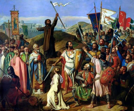 Procesión de cruzados ao redor de Xerusalén Jean Victor Schetz