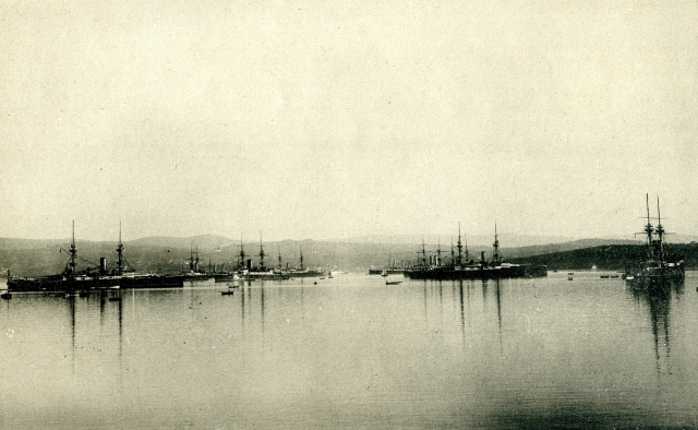 The Bristish Fleet in Ferrol. 1893. From the revue EL MUNDO NAVAL ILUSTRADO. AÑO 1898