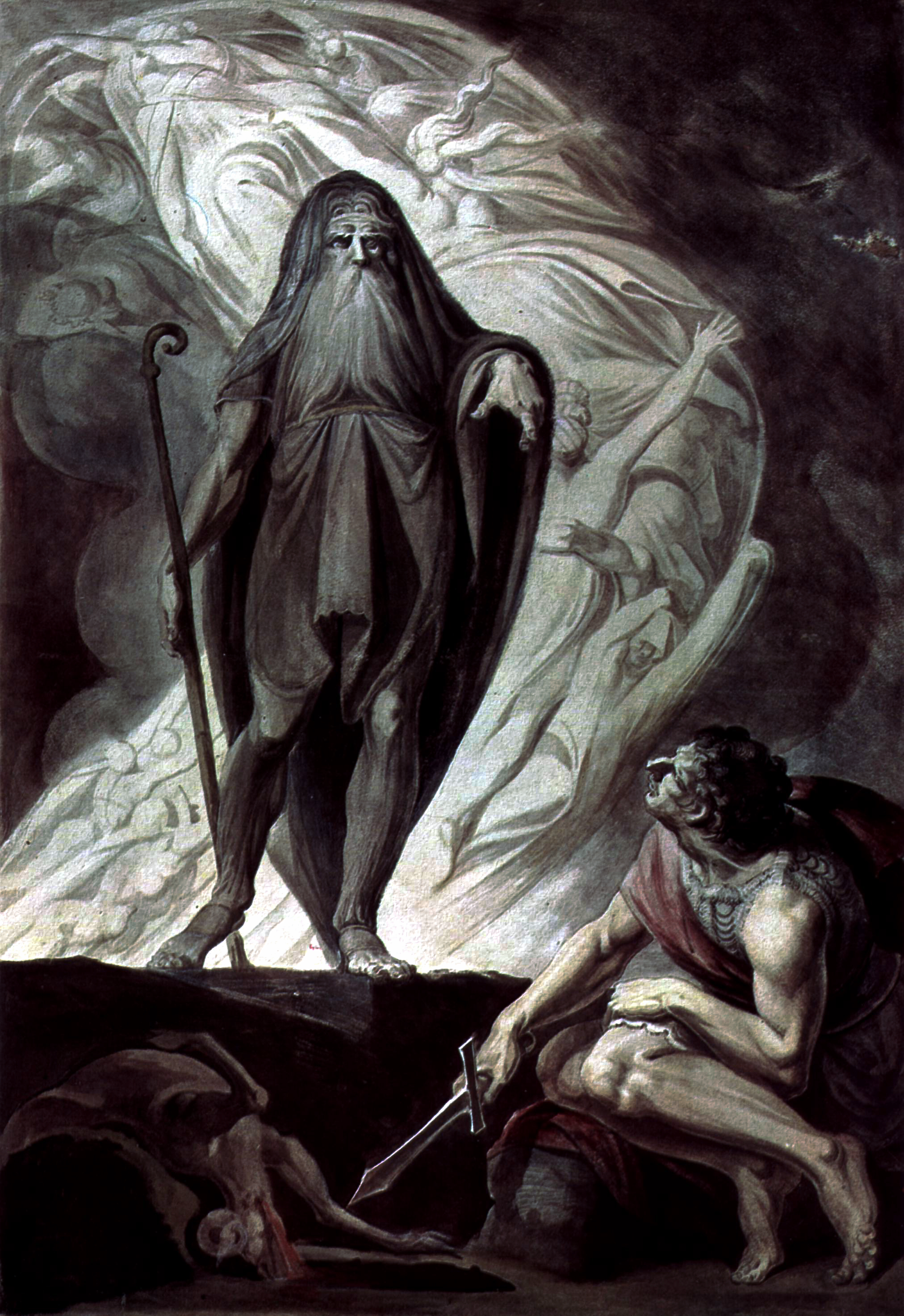 The Swiss artist Fuseli studied in Rome before settling in England in 1779, where he became famous for his paintings of literary themes. A friend of Mary Wollstonecraft and William Blake, he was elected Professor of Painting and Keeper of the Royal Academy. Fuseli had been fascinated by Homer's Odyssey since the 1760s. Published as an engraving in 1804, this composition depicts the visit of Odysseus to Teiresias in the Underworld. Between the two is the shadow of Odysseus's mother Anticleia. https://upload.wikimedia.org/wikipedia/commons/2/24/Johann_Heinrich_F%C3%BCssli_063.jpg
