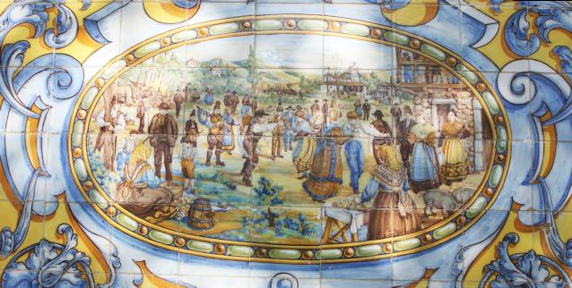 Painel asinado por Juan Ruiz de Luna no monumental banco do Pazo Libunca
